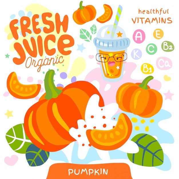 Personagem de kawaii bonito de suco orgânico de vidro fresco. resumo suculento splash legumes vitamina crianças engraçadas estilo. copo de abóbora vegetal gostoso batidos. ilustração. Vetor Premium