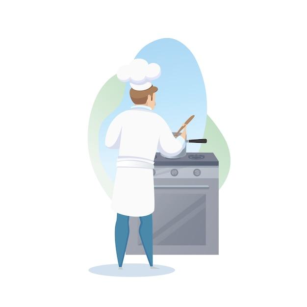 Personagem, de, macho, cozinheiro, preparando prato, ligado, prato Vetor grátis