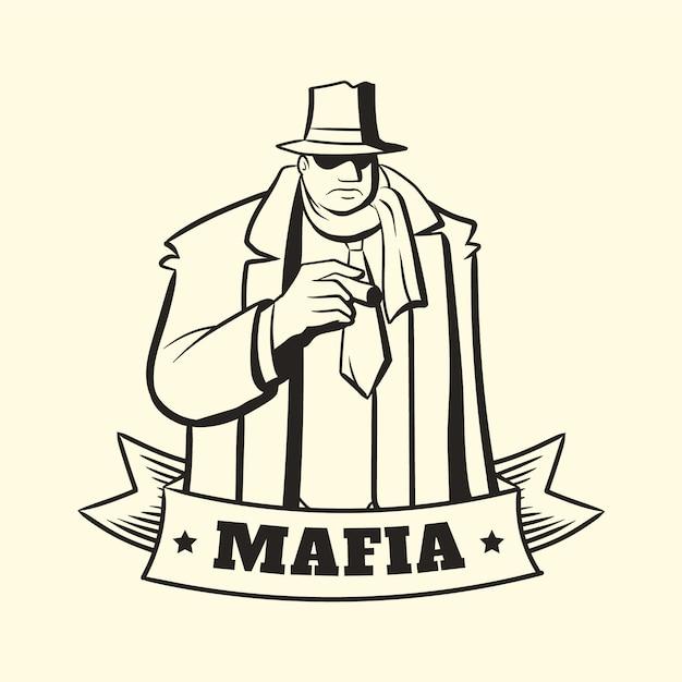 Personagem de máfia retrô gangster Vetor grátis
