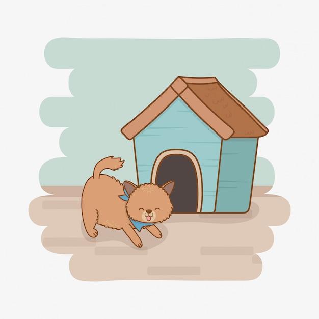 Personagem de mascote cachorrinho bonitinho Vetor Premium