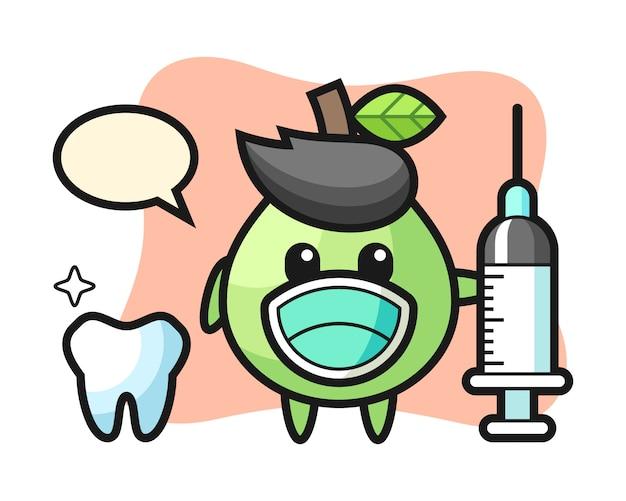 Personagem de mascote da goiaba como dentista, design de estilo bonito para camiseta, adesivo, elemento do logotipo Vetor Premium