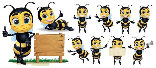 Personagem de mascote de abelha de desenho animado Vetor Premium