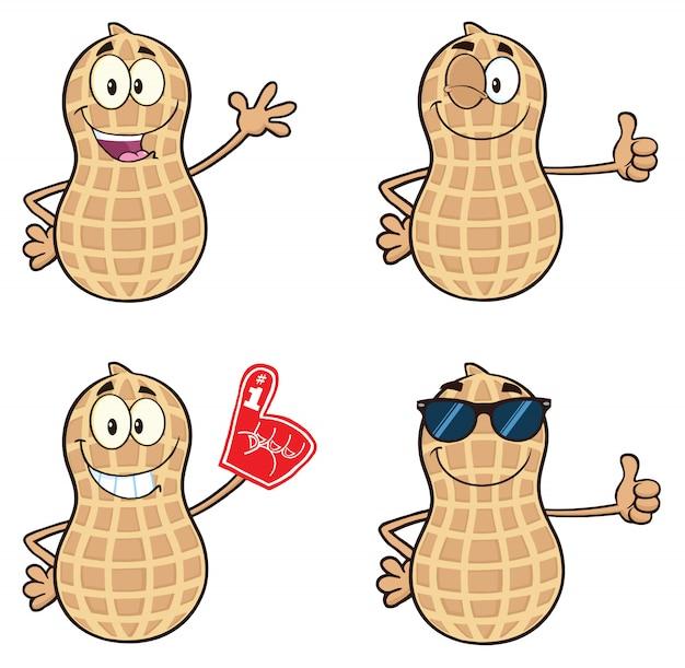 Personagem de mascote de desenho animado de amendoim Vetor Premium