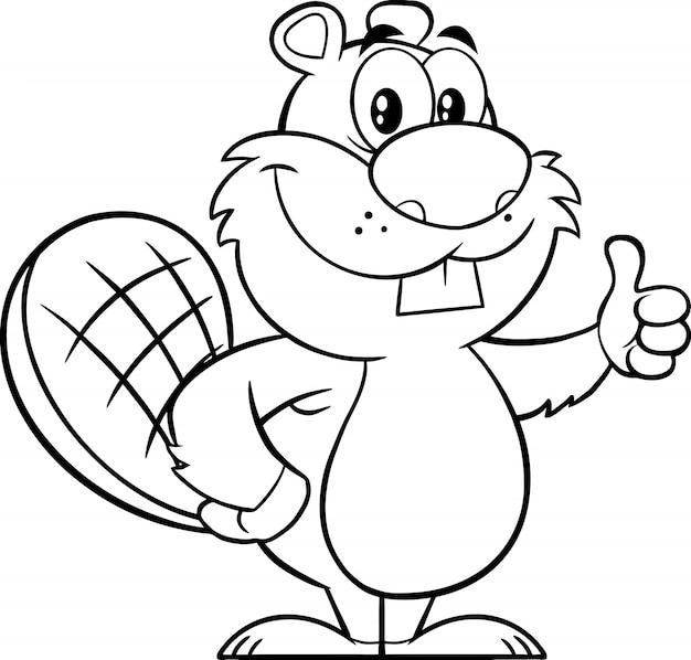 Personagem de mascote de desenho preto e branco castor dando um polegar para cima. ilustração Vetor Premium