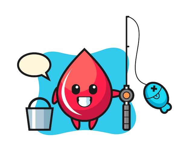 Personagem de mascote de gota de sangue como um pescador, estilo fofo, adesivo, elemento de logotipo Vetor Premium