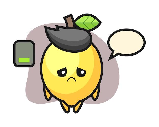Personagem de mascote de limão, fazendo um gesto cansado Vetor Premium