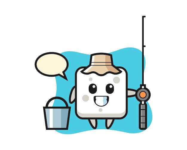 Personagem de mascote do cubo de açúcar como um pescador, estilo bonito para camiseta, adesivo, elemento do logotipo Vetor Premium