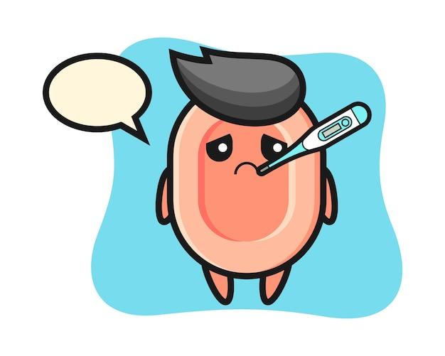 Personagem de mascote sabão com condição de febre, estilo bonito para camiseta, adesivo, elemento do logotipo Vetor Premium