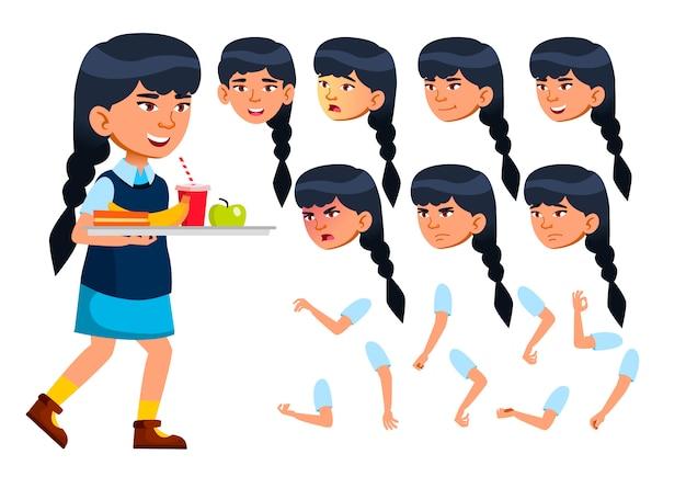 Personagem de menina criança. asiático. construtor de criação para animação. emoções de rosto, mãos. Vetor Premium