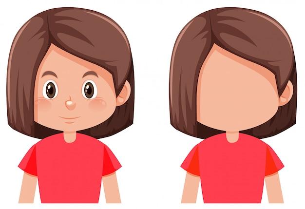 Personagem de menina de cabelo de bob Vetor grátis