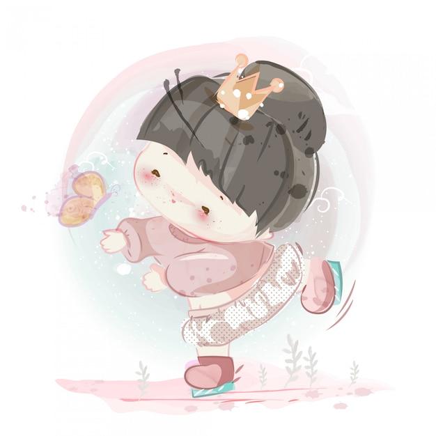Personagem de menina e menino adorável estilo aquarela. Vetor Premium