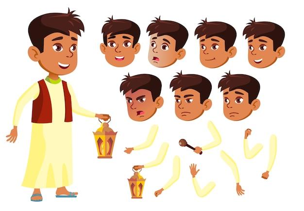 Personagem de menino criança. árabe. construtor de criação para animação. emoções de rosto, mãos. Vetor Premium