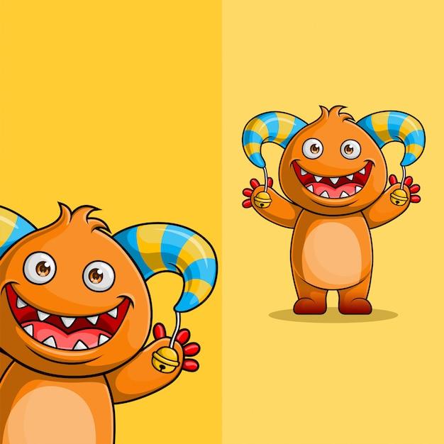 Personagem de monstro bonito dos desenhos animados acenando. com posição diferente do ângulo de exibição, desenhado à mão Vetor Premium
