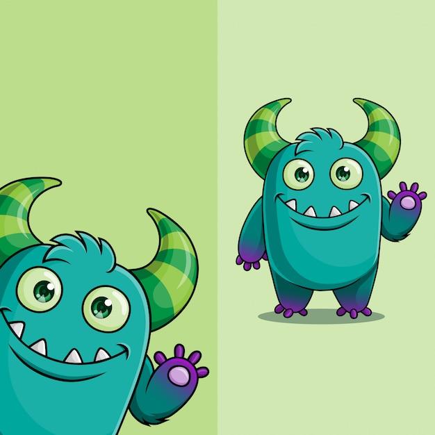 Personagem de monstro demônio bonito acenando, com posição de ângulo de exibição diferente, mão desenhada Vetor Premium