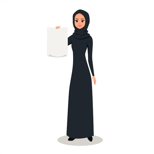 Personagem de mulher árabe contém folha de papel em branco Vetor Premium