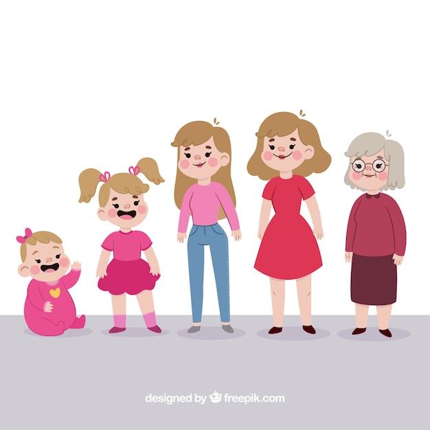 Personagem de mulher branca em diferentes idades Vetor grátis