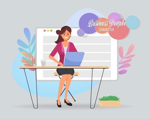 Personagem de mulher de negócios no espaço de trabalho do escritório. Vetor Premium