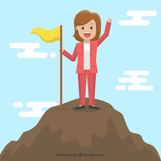 Personagem de mulher de negócios no topo Vetor grátis