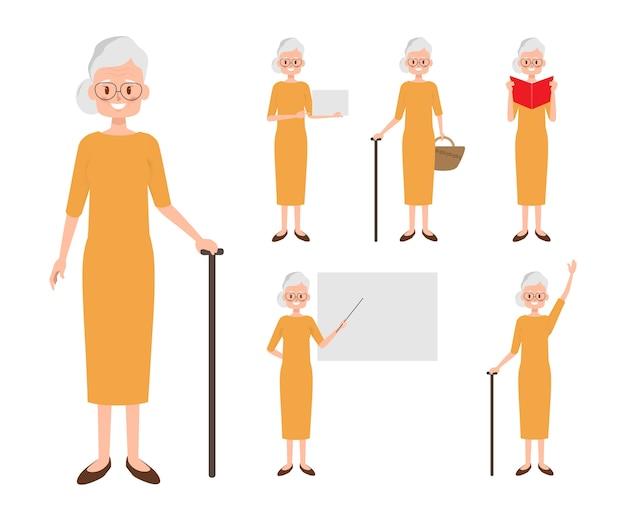 Personagem de mulher de pessoas mais velhas. Vetor Premium