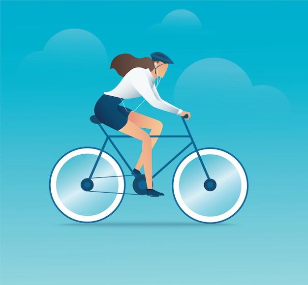 Personagem de mulher em bicicleta ou bicicleta Vetor Premium