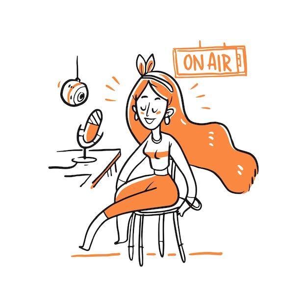 Personagem de mulher na ilustração de estúdio de rádio Vetor Premium