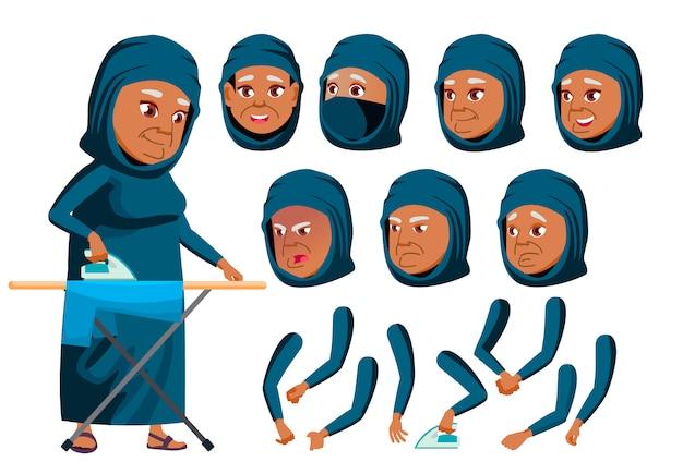 Personagem de mulher velha. árabe. construtor de criação para animação. emoções de rosto, mãos. Vetor Premium