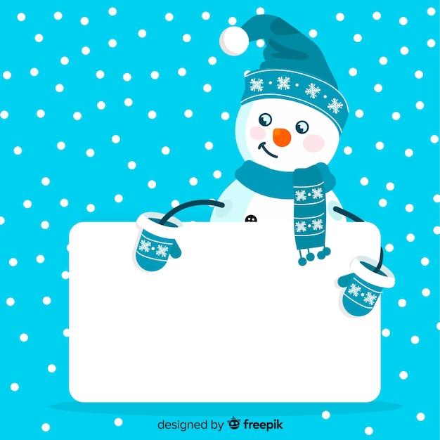 Personagem de natal desenhada de mão segurando o cartão vazio branco Vetor grátis