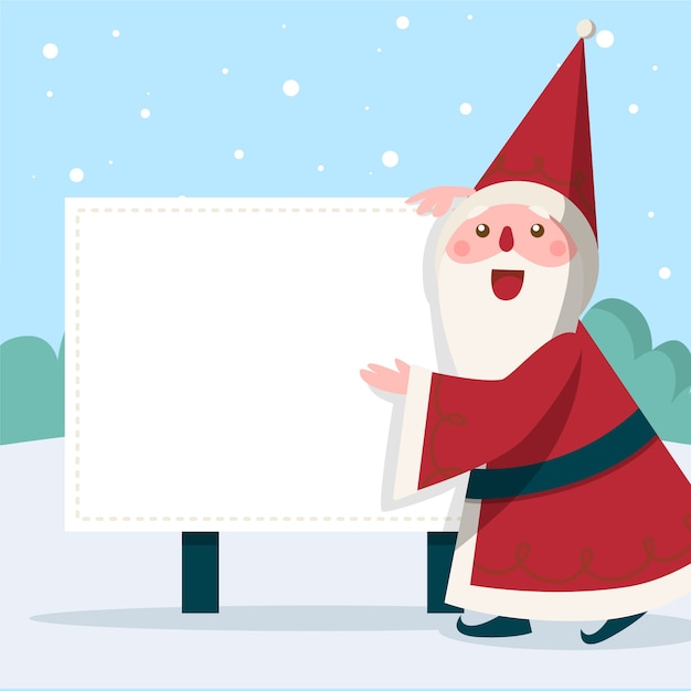 Personagem de natal papai noel segurando bandeira em branco Vetor grátis
