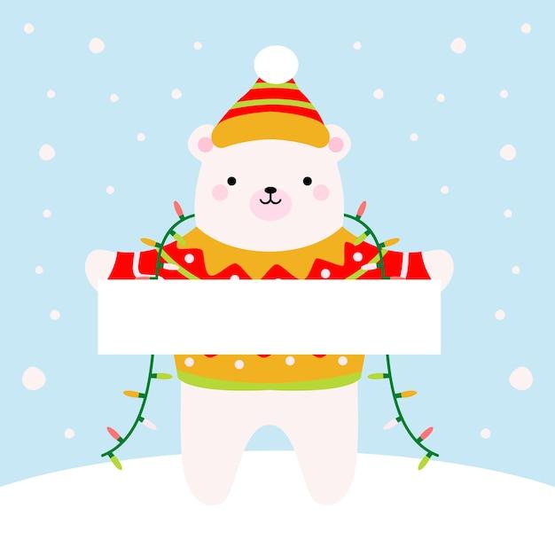 Personagem de natal segurando bandeira em branco Vetor grátis