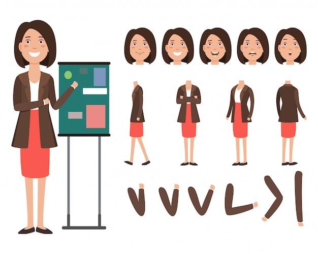 Personagem de negócios palestrante com diferentes poses, emoções Vetor grátis