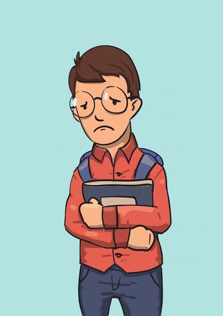 Personagem de nerd de escola de óculos, segurando livros. ilustração plana colorida. isolado no azul Vetor Premium