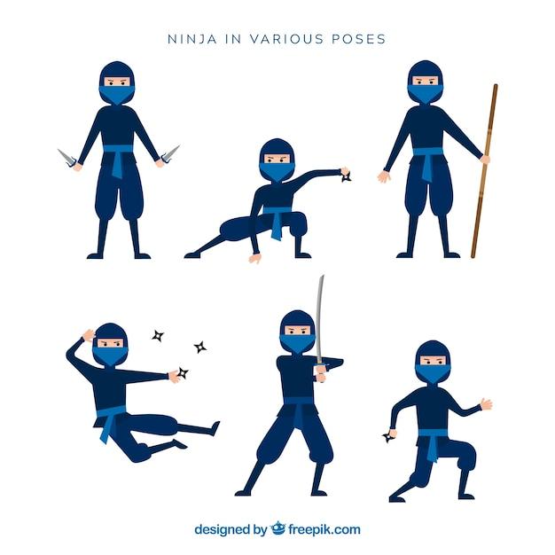 Personagem de ninja em poses diferentes com desing plana Vetor grátis