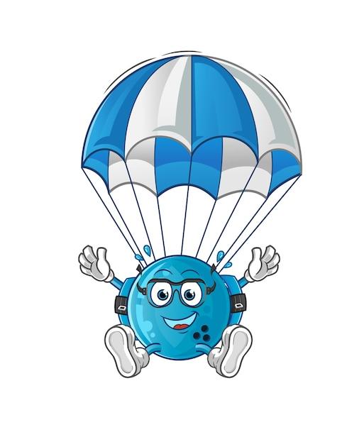 Personagem de pára-quedismo de bola de boliche. mascote dos desenhos animados Vetor Premium