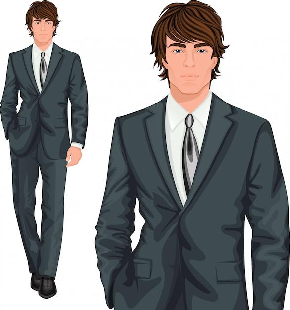 Personagem de pé jovem empresário Vetor grátis