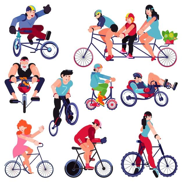 Personagem de pessoas de motociclistas de vetor de bicicleta ciclismo no conjunto de ilustração de transporte ciclo de homem mulher criança ciclista e ciclista ciclista bicicleta ciclista isolada no branco Vetor Premium