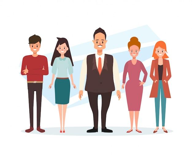 Personagem de pessoas de negócios em pé de trabalho em equipe. Vetor Premium