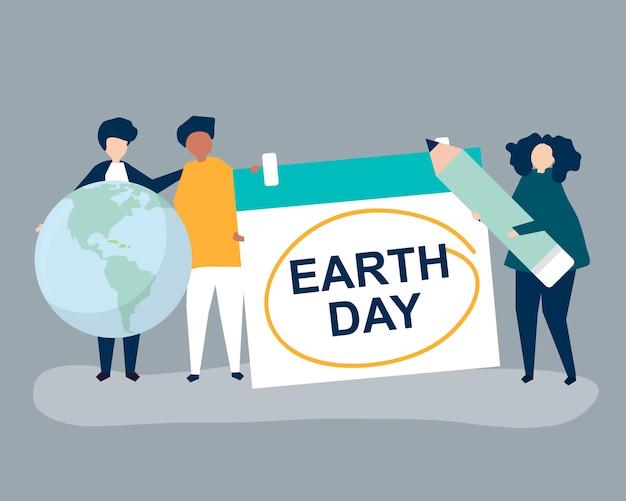 Personagem de pessoas e ilustração do conceito de dia da terra Vetor grátis