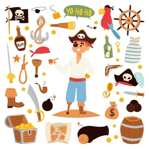 Personagem de pirata com ícones. Vetor Premium