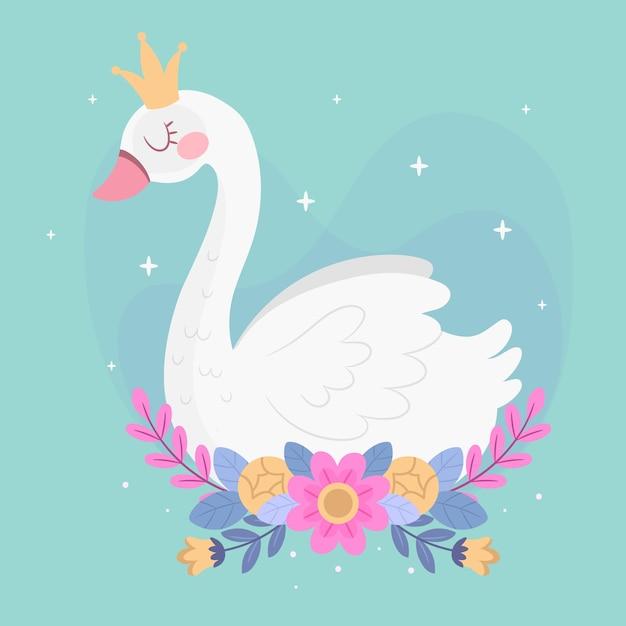 Personagem de princesa cisne Vetor grátis