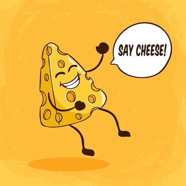 Personagem de queijo bonito com cara engraçada ou expressão e dizer letras de queijo na laranja Vetor Premium