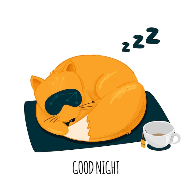 Personagem de raposa bonito dormindo. Vetor Premium