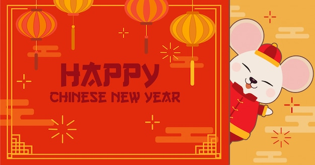 Personagem de rato bonitinho com feliz ano novo chinês Vetor Premium