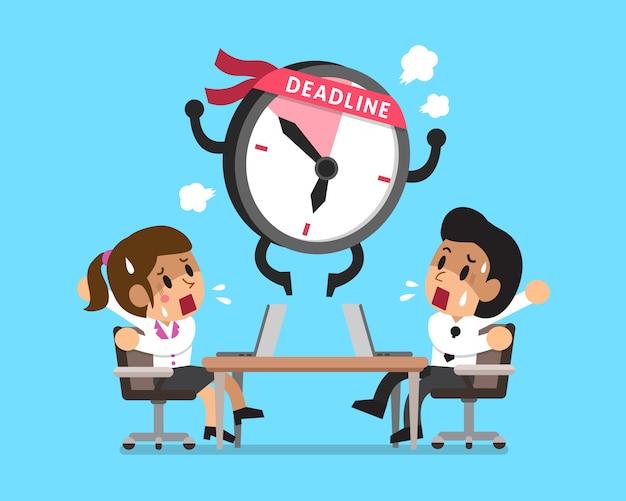 Personagem de relógio de prazo de desenhos animados e pessoas de negócios Vetor Premium