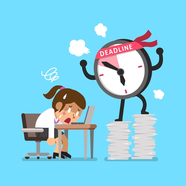 Personagem de relógio de prazo dos desenhos animados e empresária Vetor Premium