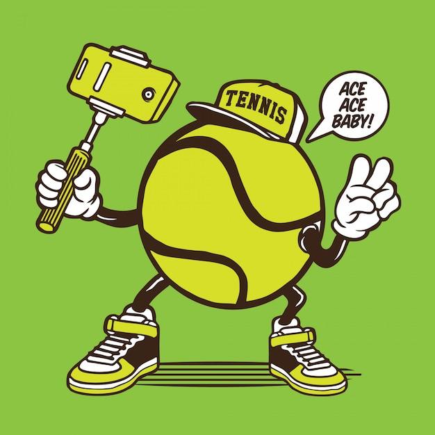 Personagem de selfie de bola de tênis Vetor Premium