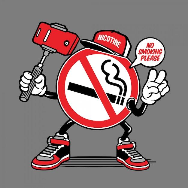 Personagem de selfie de sinal de não fumadores Vetor Premium