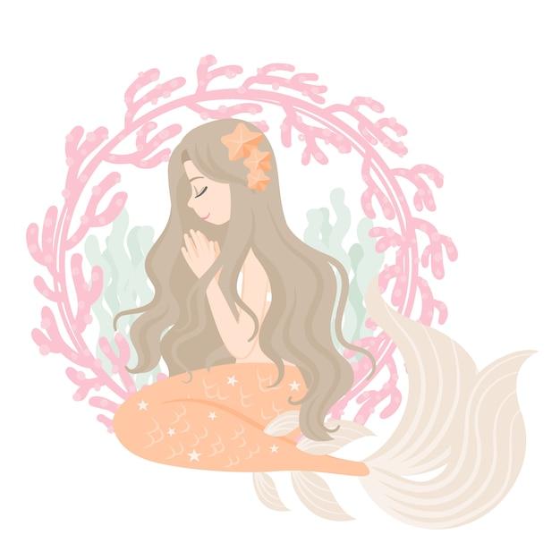 Personagem de sereia com moldura de coral Vetor Premium