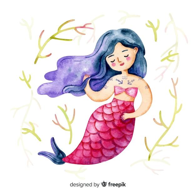 Personagem de sereia sorridente estilo aquarela Vetor grátis