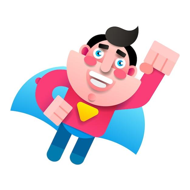 Personagem de super-herói, super pai Vetor Premium
