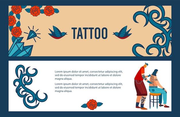 Personagem de tatuagem de homem plano de desenho animado tatuando e fazendo arte profissional de estilo antigo de corpo criativo Vetor Premium
